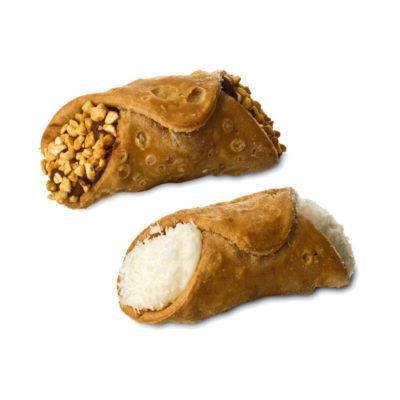 Cannoli siciliani ripieni - crema bianca e crema cioccolato