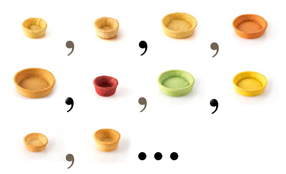 Varietà di tartelle colorate per personalizzare prodotti salati e dolci
