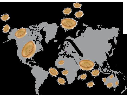 Mappa mondiale dei paesi esteri verso cui FB Berton esporta i prodotti semilavorati per l'industria della pasticceria e della gastronomia